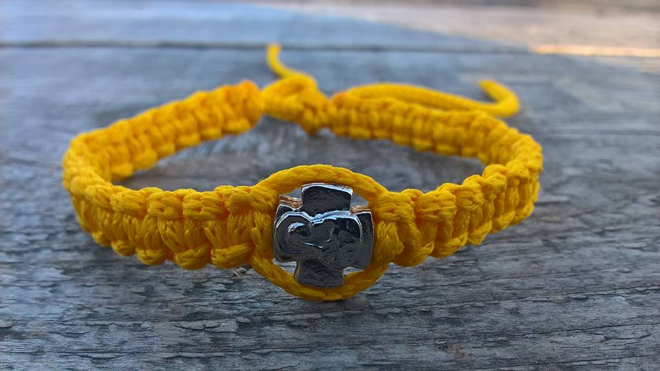 Handmade christian yellow prayer rope bracelet