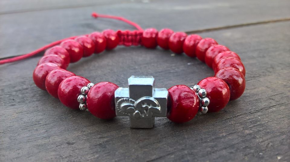 Handmade christian red prayer beads bracelet