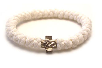 Handmade orthodox white prayer rope bracelet