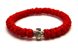 Handmade orthodox red prayer rope bracelet