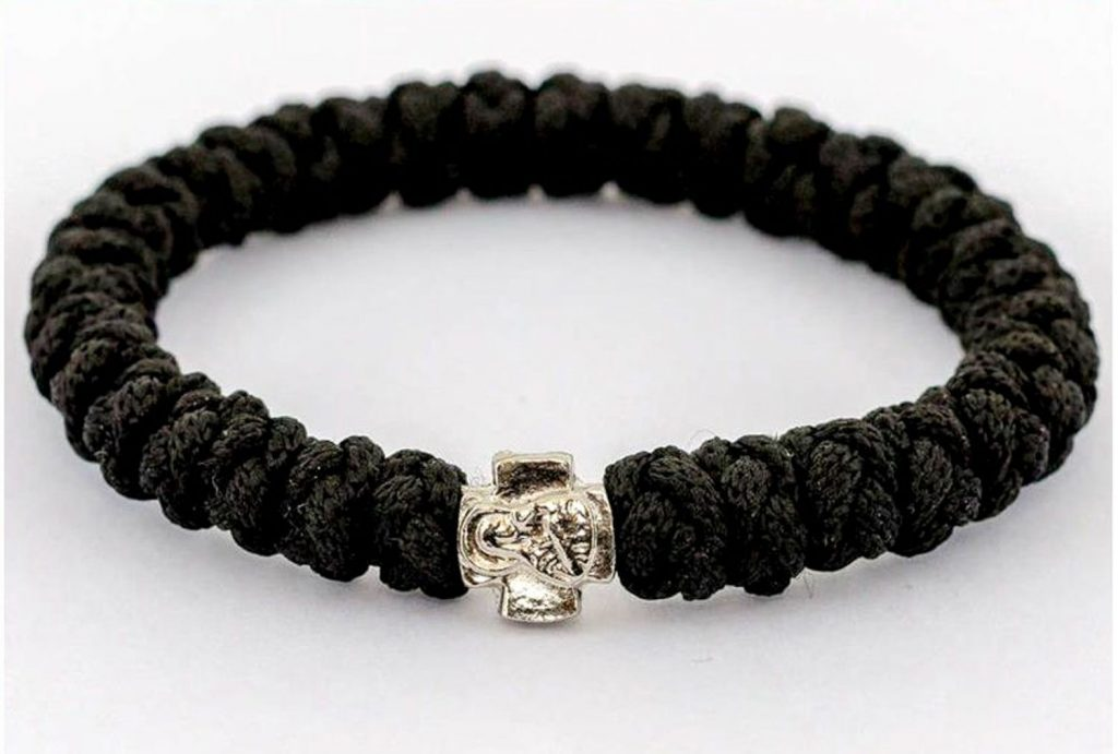 Handmade orthodox black prayer rope bracelet