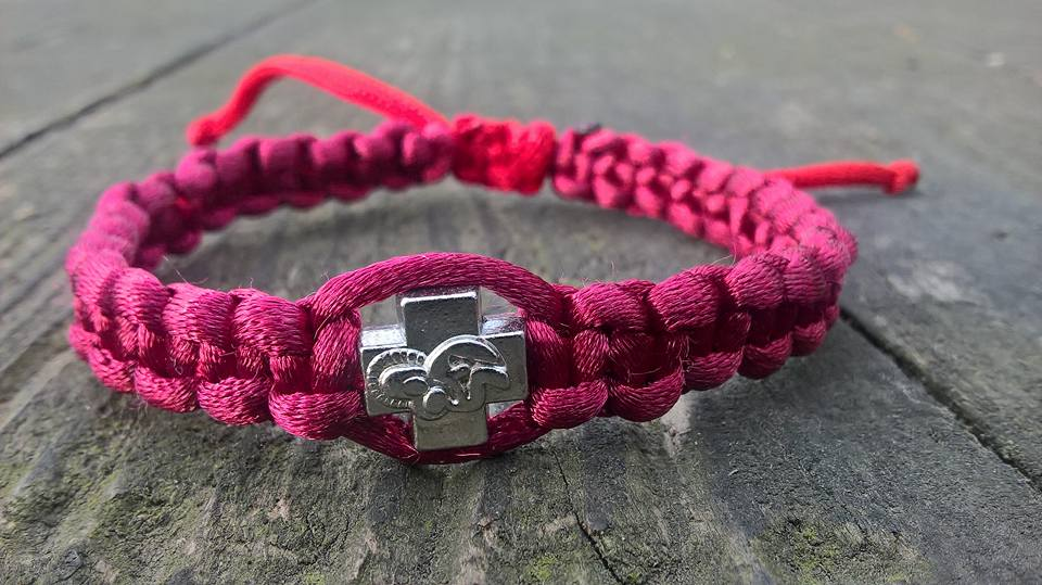 Handmade bordeaux christian prayer rope bracelet satin