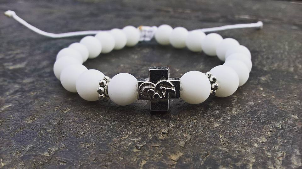 Handmade christian white prayer beads bracelet