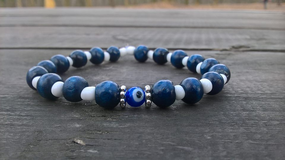 Evil eye beaded bracelet or anklet