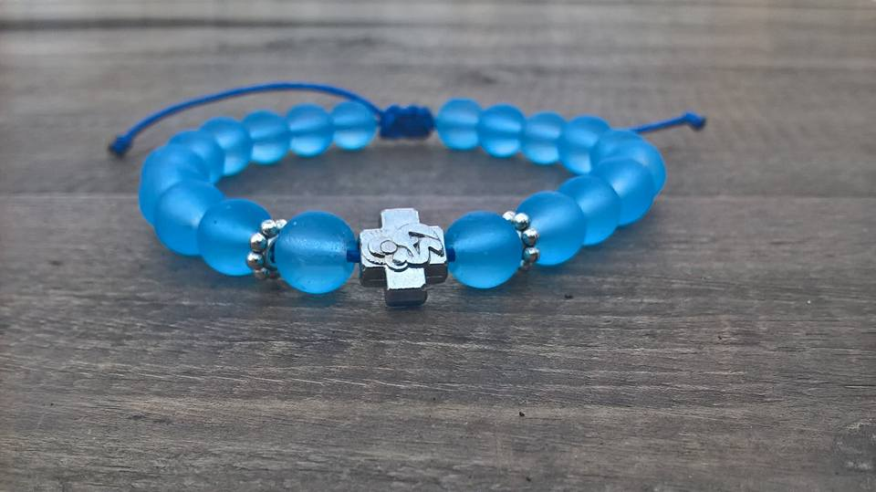 Handmade christian blue light prayer beads bracelet