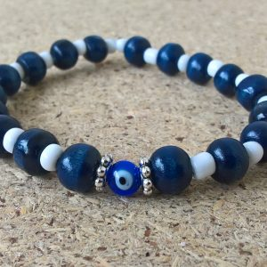 Evil eye blue navy-white beaded bracelet