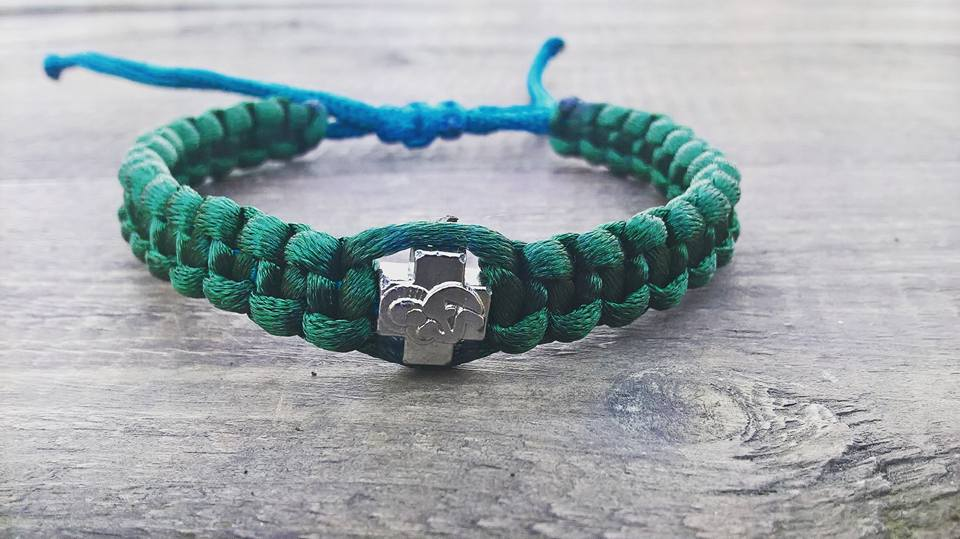 Handmade green christian prayer rope bracelet satin