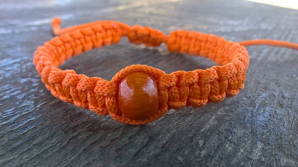 Handmade christian orange prayer rope bracelet with orange bead