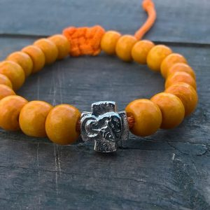 Orange Prayer Beads Bracelet