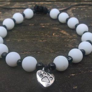 Handmade white-black dog paw beads bracelet