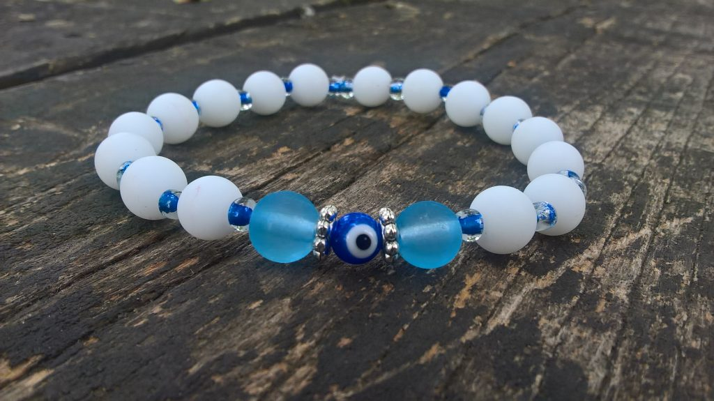 Handmade evil eye beaded bracelet, anklet