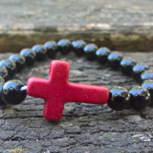 Prayer beads bracelets with stone cross