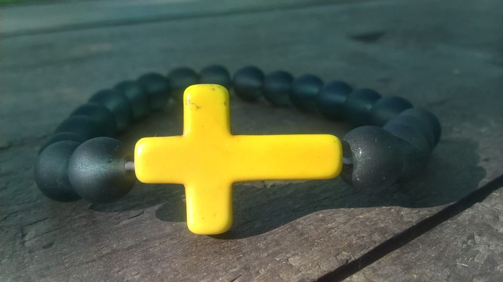 Handmade prayer beads bracelets with yellow stone cross
