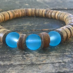 Handmade coconut bracelet with blue glass beads
