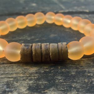Handmade orange glass bracelet with coconut beads
