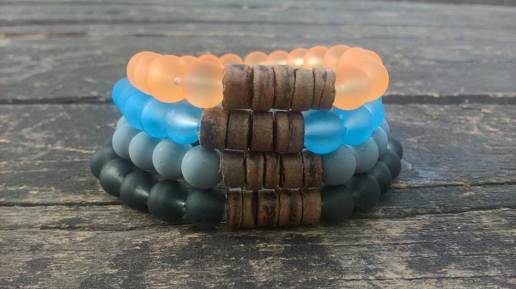 Coconut-glass bracelets, couple bracelets
