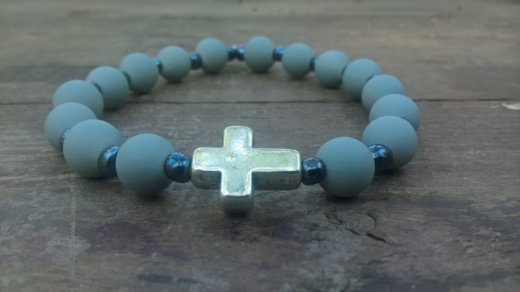 Handmade christian gray prayer beads bracelet