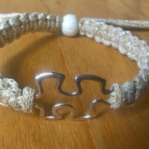 Handmade beige with silver ribbon puzzle friendship bracelet