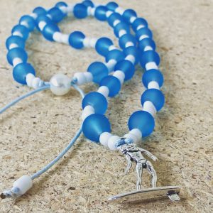 Handmade blue-white surfer pendant necklace