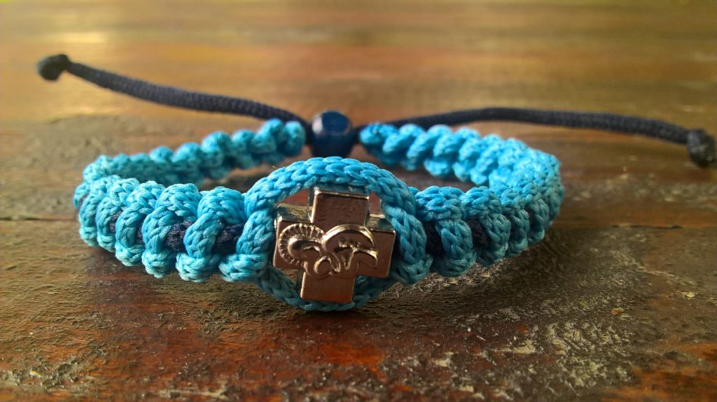 Handmade christian blue light-blue navy prayer rope bracelet