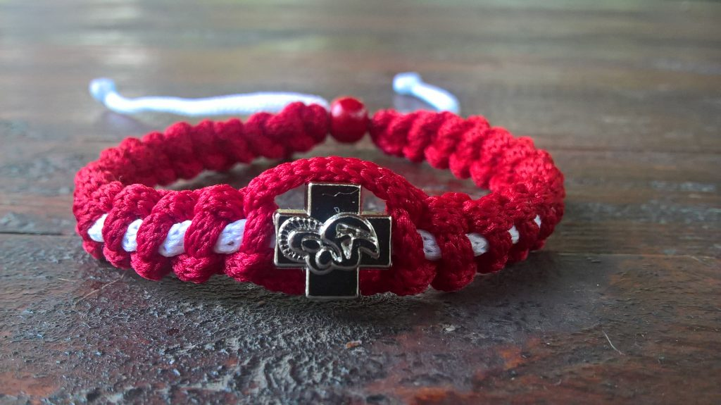 Handmade christian red-white prayer rope bracelet