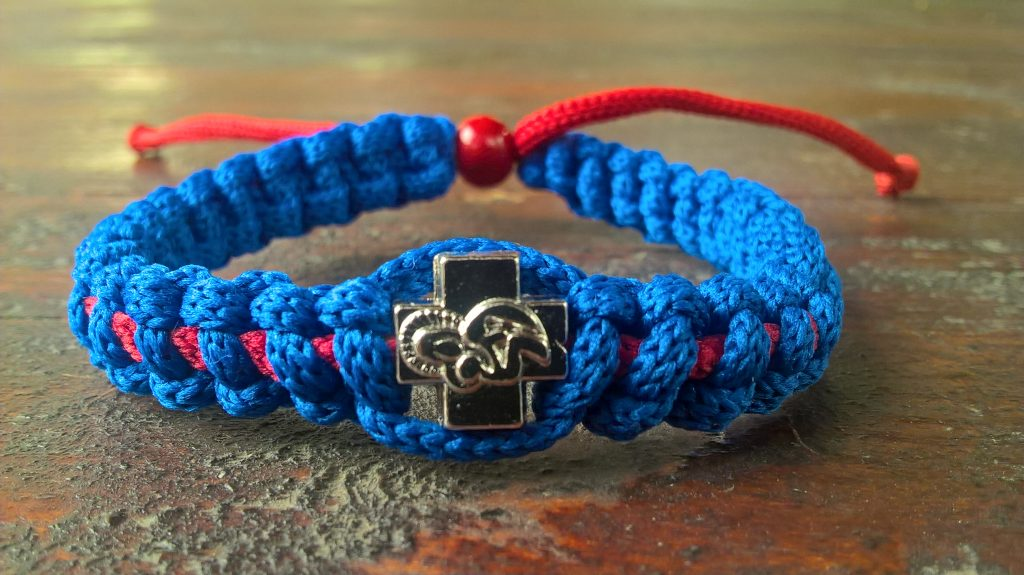 Handmade christian blue-red prayer rope bracelet