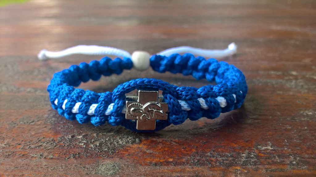 Handmade christian blue-white prayer rope bracelet