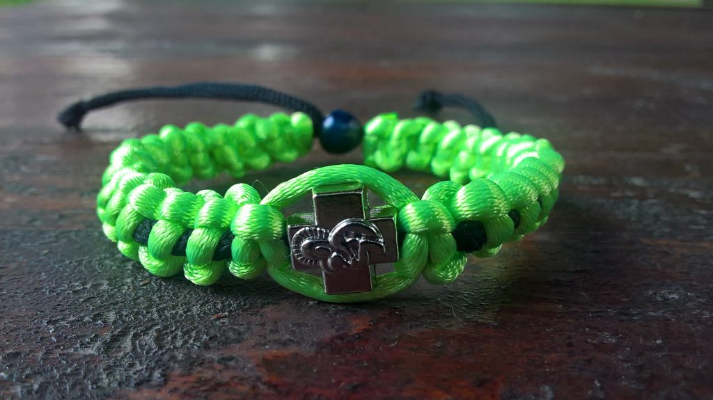 Handmade christian green fluo-black prayer rope bracelet