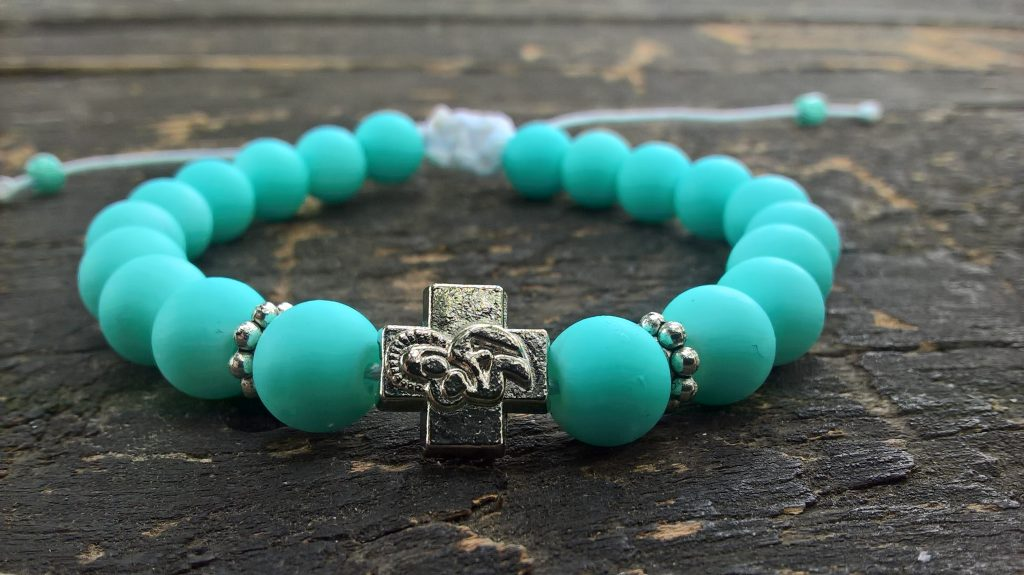 Handmade christian turquoise prayer beads bracelet