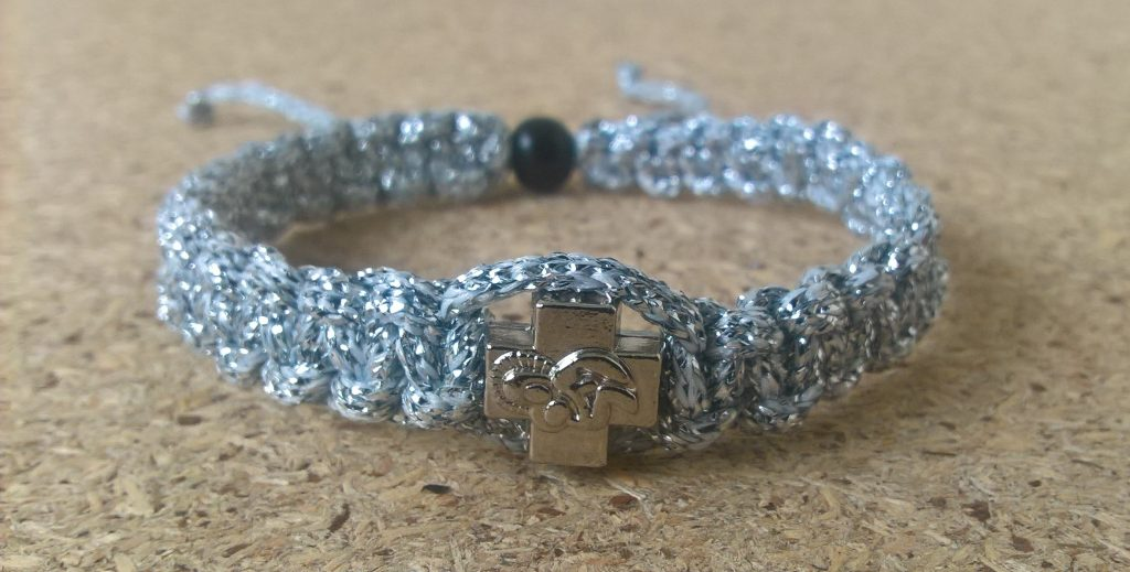 Handmade christian silver with silver ribbon prayer rope bracelet