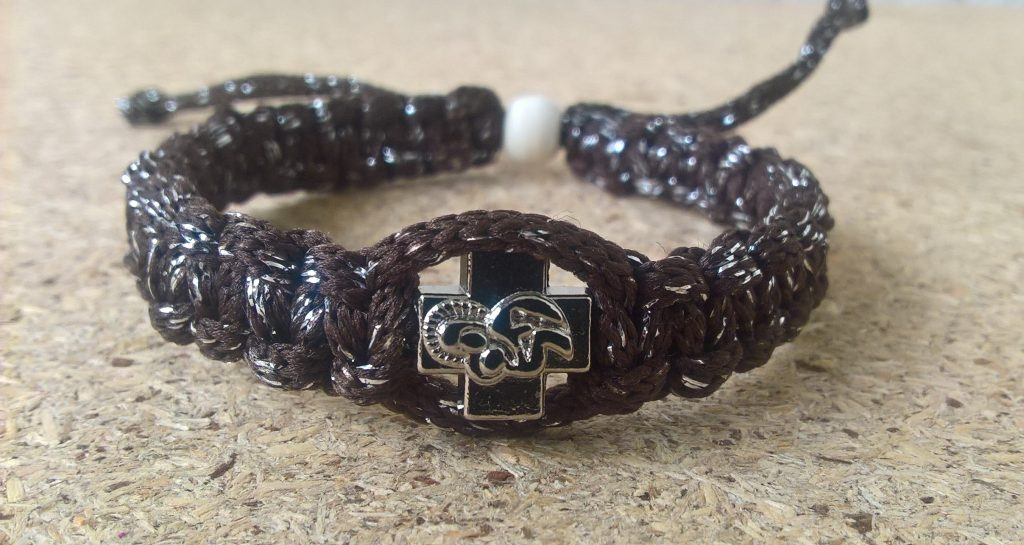 Handmade christian brown with silver ribbon prayer rope bracelet