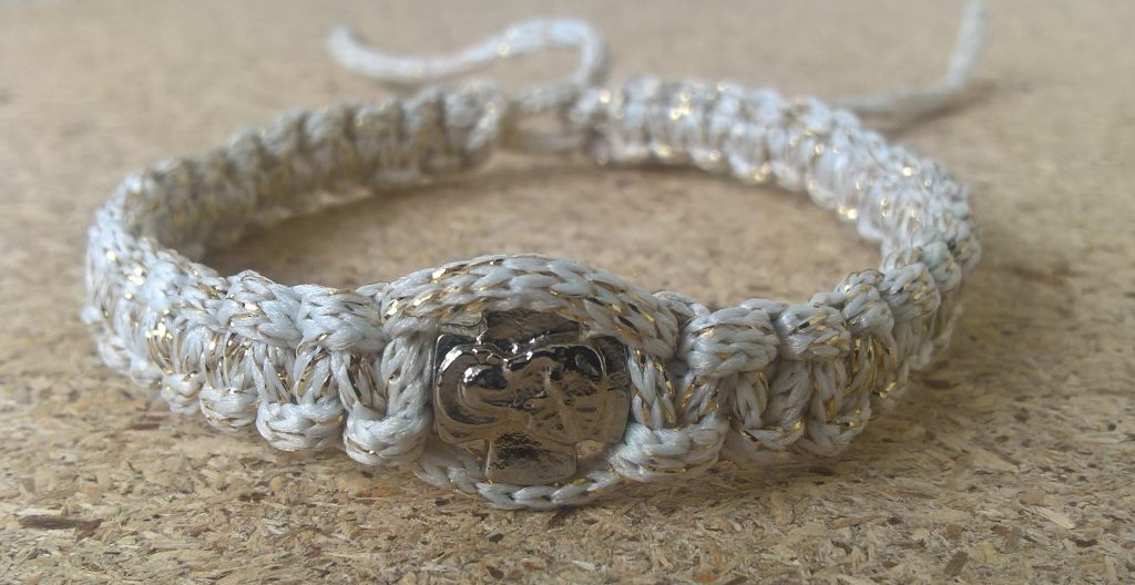 Handmade christian beige with silver ribbon prayer rope bracelet