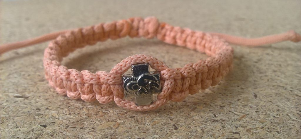 Handmade christian rose tan prayer rope bracelet