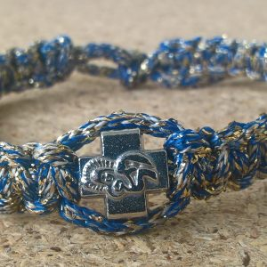 Handmade christian blue with silver ribbon prayer rope bracelet