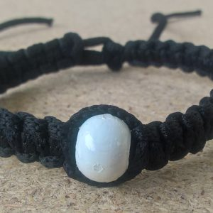 Handmade christian black prayer rope bracelet with white bead