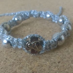 Handmade christian silver with silver ribbon prayer ropes, beads bracelet
