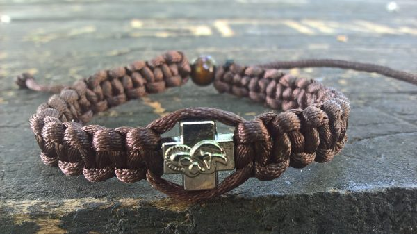 Handmade brown christian prayer rope bracelet satin