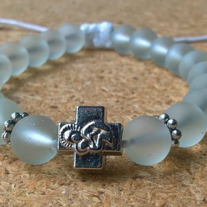 Handmade christian white transparent prayer beads bracelet