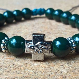 Handmade christian dark green prayer beads bracelet