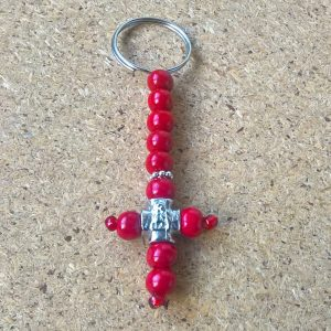 Handmade christian red keychain
