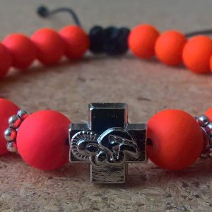 Handmade christian fluo red prayer beads bracelet