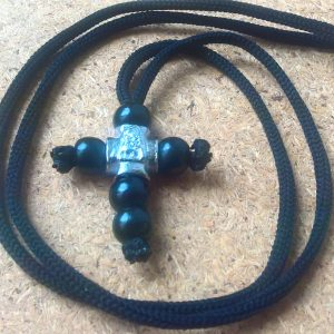Handmade necklace with black wood cross pendant