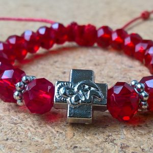 Handmade christian red glass prayer beads bracelet $20.00