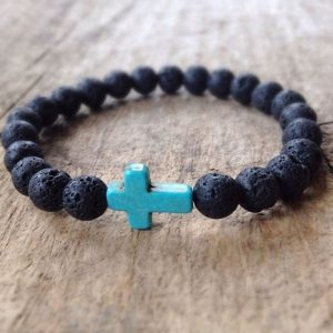 Handmade christian lava rock stone prayer beads bracelet