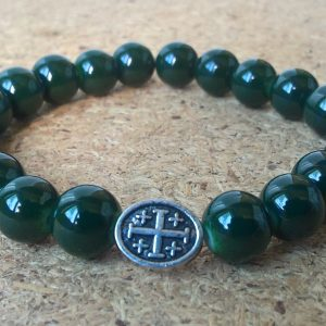 Handmade christian green glass prayer beads bracelet